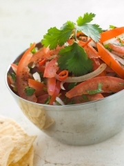 Dish of Tomato Red Onion and Coriander Relish